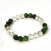 CR10-CRB104-B-8mm TWO COLOR STONE BRACELET IN CLEAR CRYSTAL & RUBY ZOISITE