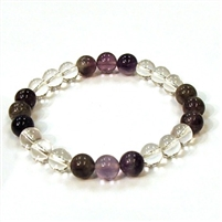 CR10-CRB510-B-8mm TWO COLOR STONE BRACELET IN CLEAR CRYSTAL & PURPLE FLUORITE