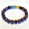CR-11-7  8mm 7 CHAKRA STRETCH BEACELET-AMETHYST