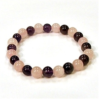 CR11-CR56-A-8mm TWO COLOR STONE BRACELET IN AMETHYST & ROSE QUARTZ