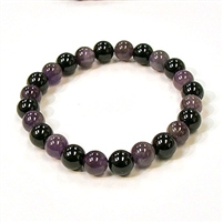 CR11-CRB127-A-8mm TWO COLOR STONE BRACELET IN AMETHYST & TOURMALINE