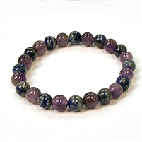 CR11-CRB178-A-8mm TWO COLO STONE BRACELET IN AMETHYST & LAPIS