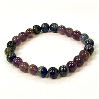CR11-CRB178-B-8mm TWO COLOR STONE BRACELET IN AMETHYST & LAPIS