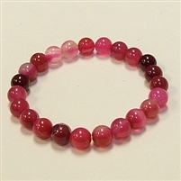 CR33-8mm STONE BRACELET IN DYED RED ROSE AGATE
