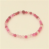 CR33-4mm STONE BRACELET IN DYED RED ROSE AGATE