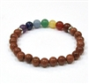 CR-40-7 8mm CHAKRA STONE BRACELET IN GOLDSTONE