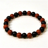 CR44-CR46-A-8mm TWO COLOR STONE BRACELET IN ONYX & RED JASPER