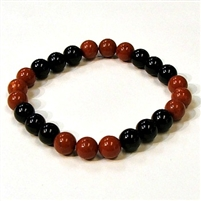 CR44-CR46-B-8mm TWO COLOR STONE BRACELET IN ONYX & RED JASPER