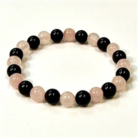 CR44-CR56-A-8mm TWO COLOR STONE BRACELET IN ONYX & ROSE QUARTZ