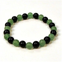 CR44-CR57-A-8mm TWO COLOR STONE BRACELET IN ONYX & AVENTURINE