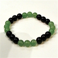 CR44-CR57-B-8mm TWO COLOR STONE BRACELET IN ONYX & AVENTURINE