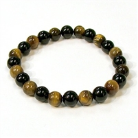CR44-CR60-A-8mm TWO COLOR STONE BRACELET IN ONYX & TIGER EYE