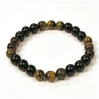 CR44-CR60-B-8mm TWO COLOR STONE BRACELET IN ONYX & TIGER EYE