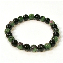 CR44-CRB104-A-8mm TWO COLOR STONE BRACELET IN ONX & RUBY ZOISITE