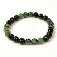 CR44-CRB104-B-8mm TWO COLOR STONE BRACELET IN ONYX & RUBY ZOISITE