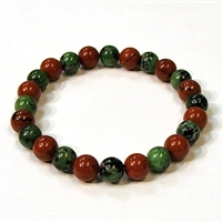 CR46-CRB104-A-8mm TWO COLOR STONE BRACELET IN RED JASPER & RUBY ZOISITE