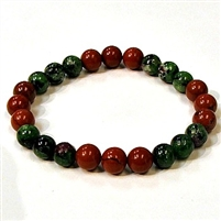 CR46-CRB104-B-8mm TWO COLOR STONE BRACELET IN RED JASPER & RUBY ZOISITE