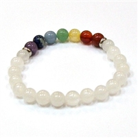 CR-59-7 8mm 7 CHAKRA STONE BRACELET IN WHITE JADE