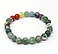 CR-97-7 8mm CHAKRA STONE BRACELET IN TREE AGATE