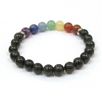 CRB-538-7 8mm CHAKRA STONE BRACELET IN HYPERSTHENE