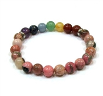 CRB-517-7 8mm CHAKRA STONE BRACELET IN RHODONITE