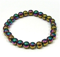 CRB156-8mm STONE BRACELET IN RAINBOW HEMATITE