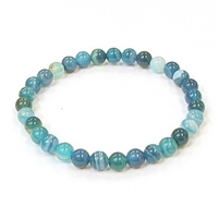 CRB182-6mm STONE BRACELET IN BLUE STRIPED AGATE