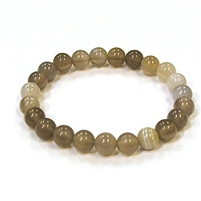CRB185-8mm STONE BRACELET IN GREY STRIPED AGATE