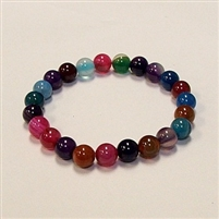 CRB186-STONE BRACELET IN COLORFUL STRIPED AGATE