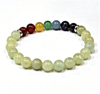 CRB-204-7 8mm CHAKRA STONE BRACELET IN MOUNTAIN JADE