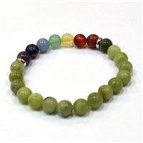 CRB-208-7 8mm 7 CHAKRA STONE BRACELET IN SO. CHINA JADE