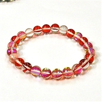 CRB524-03-8mm RED MERMAID GLASS STRETCH BRACLET