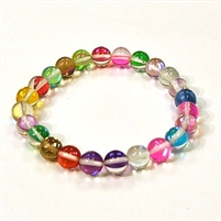 CRB524-09-8mm 7 COLORS MERMAID GLASS STRETCH BRACELET