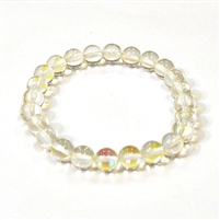 CRB524-01 8mm CLEAR MERMAID GLASS STRETCH BRACLET