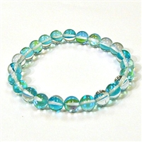 CRB524-11-8mm TURQUOISE  MERMAID GLASS STRETCH BRACELET