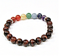 CRB-530-7 8mm CHAKRA STONE BRACELET IN RED TIGER EYE