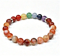 CRB553-7 CHAKA STONE BRACELE IN RED STRIPED AGATE
