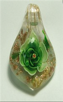 GP15-01 GLASS PENDANT WITH GREEN FLOWER