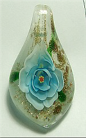 GP15-02 GLASS PENDANT WITH TURQUOISE FLOWER
