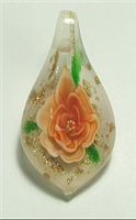GP15-03 GLASS PENDANT WITH ORANGE FLOWER
