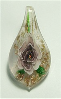 GP15-06 GLASS PENDANT WITH PURPLE FLOWER