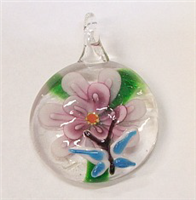 GP3-01 ROUND GLASS PENDANT WITH FLOWER