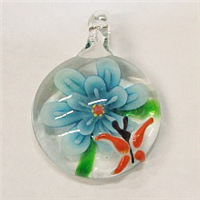 GP3-02 ROUND GLASS PENDANT WITH FLOWER