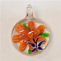 GP3-03 GLASS ROUND PENDANT WITH FLOWER