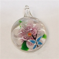GP3-04 GLASS ROUND PENDANT WITH FLOWER