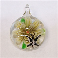 GP3-05 GLASS ROUND PENDANT WITH FLOWER