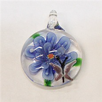 GP3-06 GLASS ROUND PENDANT WITH FLOWER
