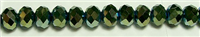 MCS-08-8mm GREEN CRYSTAL METALLIC RONDELL BEADS