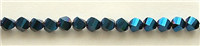 MTCS-6mm BLUE CRYSTAL METALLICE TWISTED BEADS