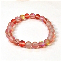 QCRB524-03-8mm RED MERMAID GLASS BRACELET IN MATTE FINISH
